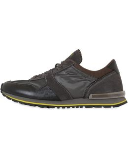 Spoiler Nylon & Leather Running Sneakers