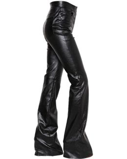 Flared Stretch Bonded Leather Pants
