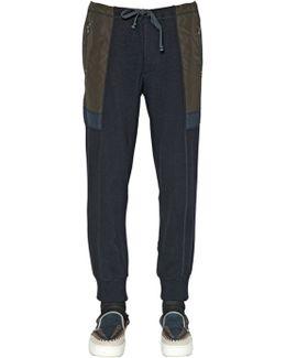 Wool Blend Knit & Nylon Jogging Pants