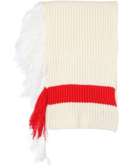 Ribbed Wool Blend Scarf With Fringe