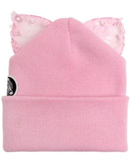 Bad Kitty Embellished Beanie With Cat Ears
