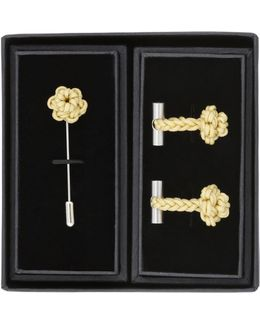 William Yellow Cufflinks & Pin Set