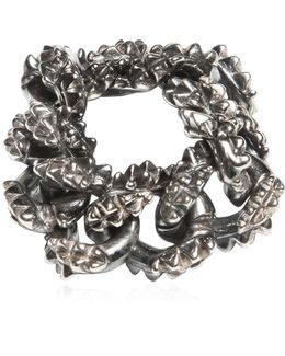 Spiked Silver Chain Ring
