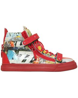 20mm Magazine Printed Leather Sneakers