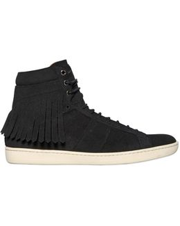 Fringed Suede High Top Sneakers