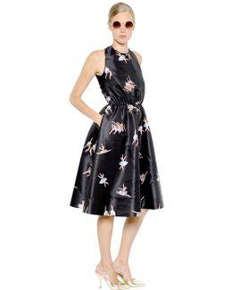 Open Back Ballerina Print Duchesse Dress