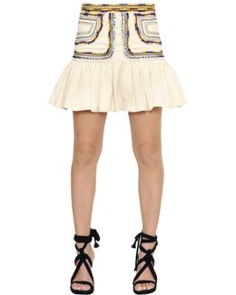 Ruffled & Embroidered Cotton Twill Skirt