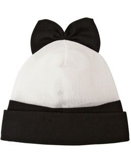 Cotton Blend Beanie Hat With Bow