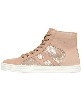 20mm Leather & Sequins Sneakers