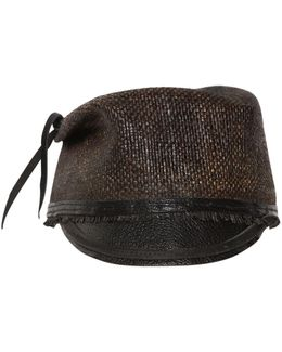 Leather Visor Straw Military Hat
