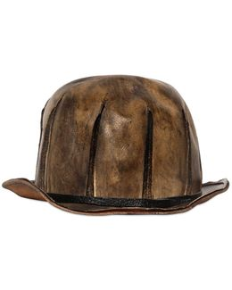 Vintage Effect Leather Bowler Hat