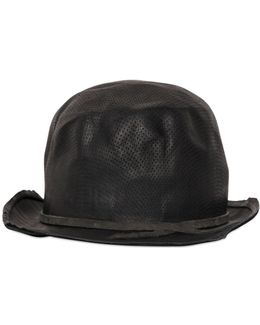 Perforated Leather Bowler Hat