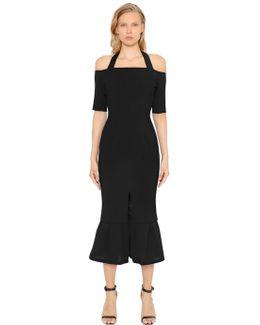 Off The Shoulders Ruffle Piqué Dress