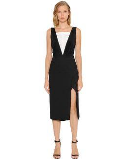 V Neck Piqué Dress With Silk Insert