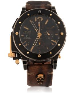 Skull-Embossed Leather Watch