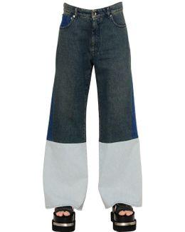Color Block Cotton Denim Jeans