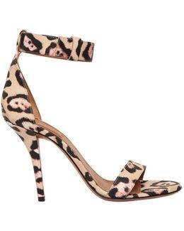 100mm Retra Jaguar Print Leather Sandals