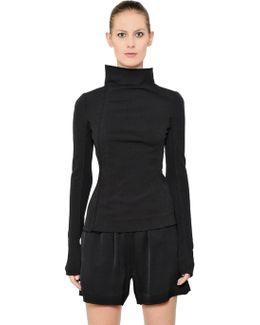 Zip-up Cotton Blend Crepe Jersey Jacket