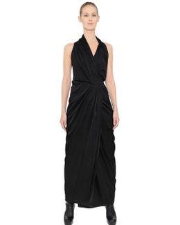 Limo Shiny Viscose Crepe Wrap Dress