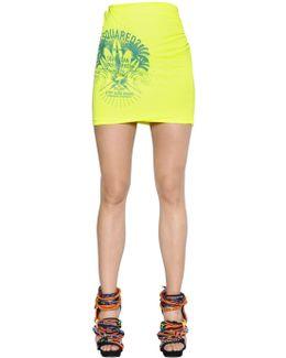 Logo Printed Cotton Blend Jersey Skirt