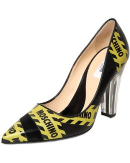 100mm Caution Printed Leather Pumps