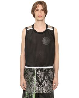 Lace & Mesh Sleeveless T-shirt