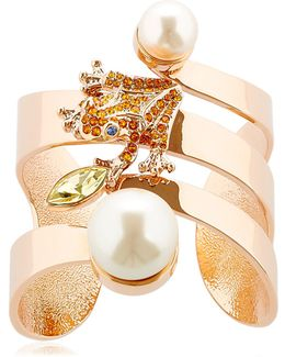 Frog Cuff Bracelet With Imitation Pearls