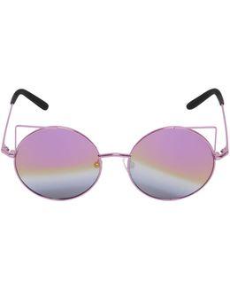 Cat Ears Round Metal Sunglasses