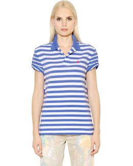 Boyfriend Fit Striped Cotton Polo Shirt