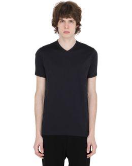 V Neck Mercerized Cotton T-shirt