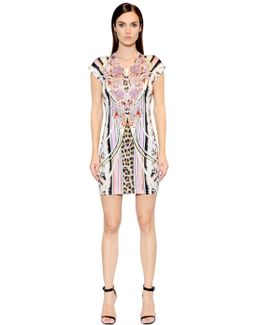 Floral Printed Techno Jersey Dress