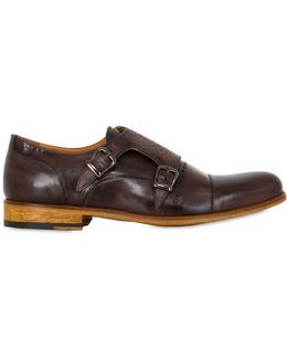 Washed Leather Brogue Monk Strap Shoes