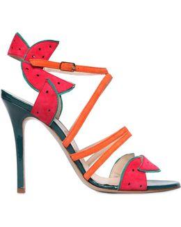 105mm Watermelon Patent Leather Sandals