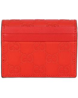 Gg Embossed Leather Card Holder