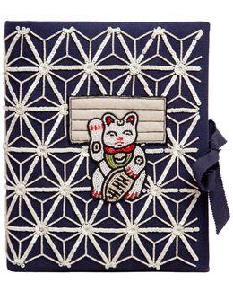 Manekineko Embroidered Note Book Clutch