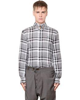 Plaid Stretch Cotton Jacquard Shirt