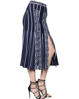 Pleated Stretch Viscose Knit Midi Skirt