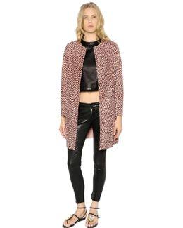 Leopard Printed Suede Coat
