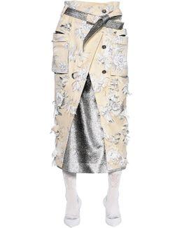 Printed Devore Gabardine Skirt
