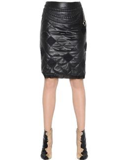 Quilted Nappa Leather Skirt With Chain