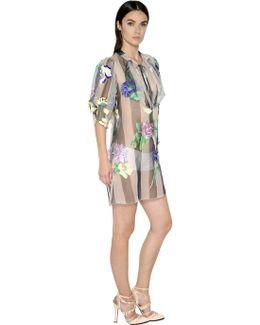 Floral Embroidered Silk Organza Dress
