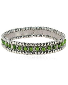 Wappo Green Agate Stretch Bracelet
