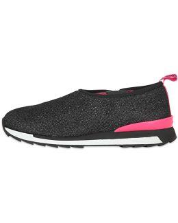 Glittered Wool Blend Slip-on Sneakers
