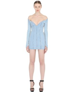Paneled Cotton Denim Bustier Dress