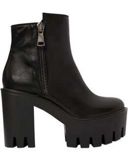 100mm Zip-up Leather Ankle Boots