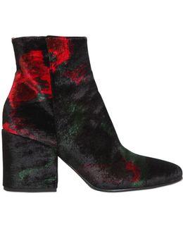 70mm Velvet Ankle Boots