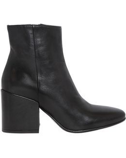 70mm Smooth Leather Ankle Boots