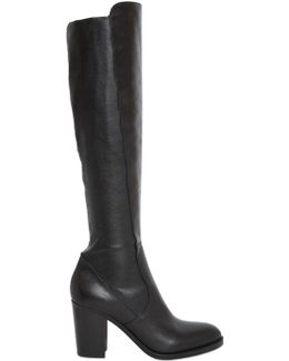 80mm Stretch Leather Knee High Boots