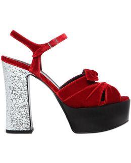 130mm Candy Glitter & Velvet Sandals