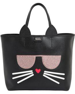 K Kocktail Cat Faux Leather Tote Bag